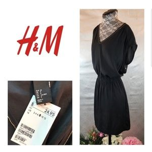 FINAL SALE- H&M Black Dress with Gold Neckline NWT